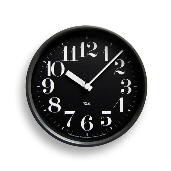 Lemnosレムノス 電波掛け時計 Riki STEEL CLOCKブラック WR08-25BK Lemnos掛け時計