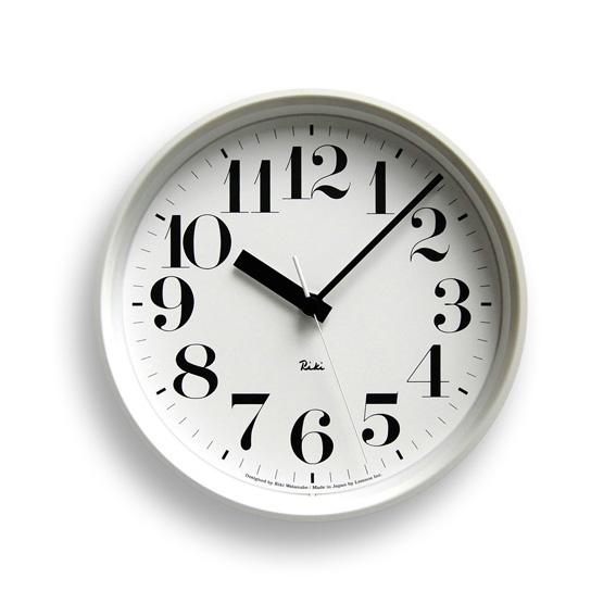 Lemnosレムノス 電波掛け時計 Riki STEEL CLOCKホワイト WR08-25WH Lemnos掛け時計