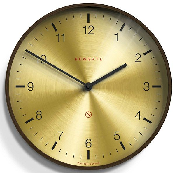 NEW GATEニューゲート掛け時計 Large Mid-Century Brass Wall Clock Dark Wood MCWC-DPLY ニューゲート時計【送料無料】