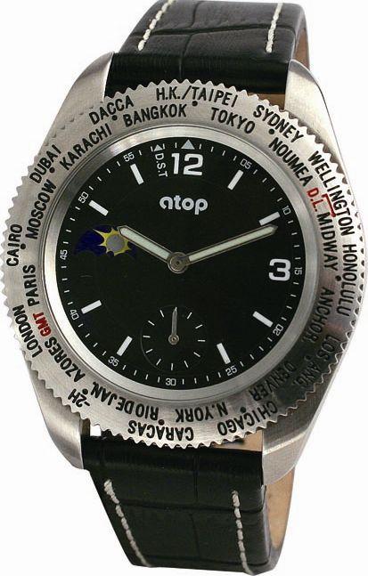 atop ワールドタイム リストウォッチ 腕時計 WWS-1A ブラック