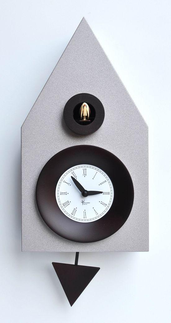 【ピロンディーニ】鳩時計 カッコー掛け時計 イタリア・ピロンディーニDark114 Silver Aluminium はと時計