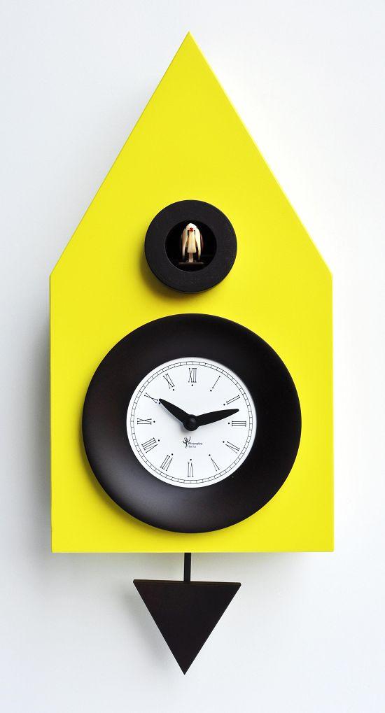 鳩時計 木の温もりとかわいらしさが魅力 ピロンディーニPirondiniカッコークロック 掛け時計 ピロンディーニ ピロンディーニDark114 カッコー掛け時計 Sulphur イタリア Yellowはと時計 送料無料 一部地域を除く 通常便なら送料無料