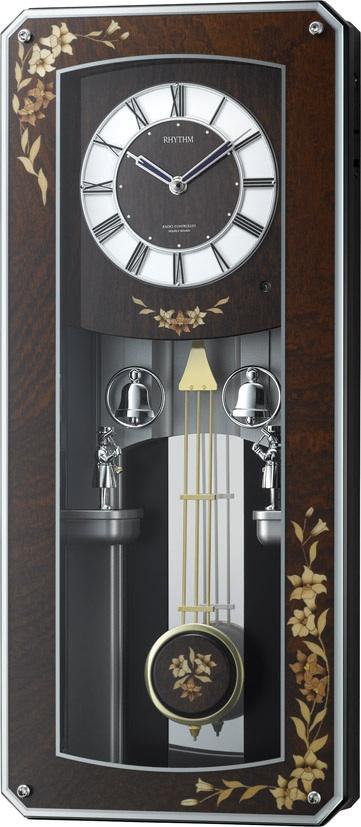 からくり時計 プライムメネット 4MN518RH06 壁掛け時計 象嵌 報時 振り子時計 電波時計 リズム時計 名入れ