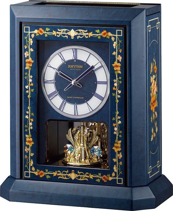 イタリア象嵌細工が美しい!振り子置き時計 オルゴール ハイグレード RHG-R07 リズム時計 4RN433HG04 無料名入れ【楽ギフ_のし】【楽ギフ_メッセ入力】【楽ギフ_名入れ】