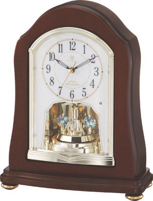 回転飾り付きウッド置き時計 ハイグレード RHG-S53 リズム時計 4RY688HG06 名入れ無料サービス【楽ギフ_のし】【楽ギフ_メッセ入力】【楽ギフ_名入れ】