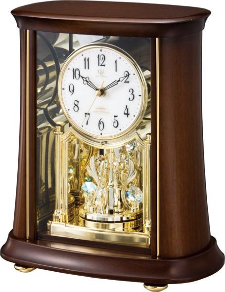 回転飾り付きウッド置き時計 ハイグレード RHG-S68 リズム時計 4RY699HG06 名入れ無料サービス【楽ギフ_のし】【楽ギフ_メッセ入力】【楽ギフ_名入れ】