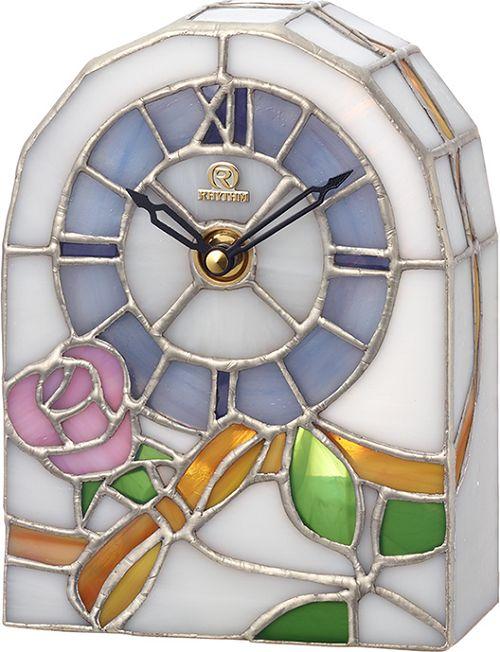 置き時計 ステンドグラス ローズ柄 RHG-S80 4SG795HG03 リズム時計 無料名入れ【楽ギフ_のし】【楽ギフ_メッセ入力】【楽ギフ_名入れ】