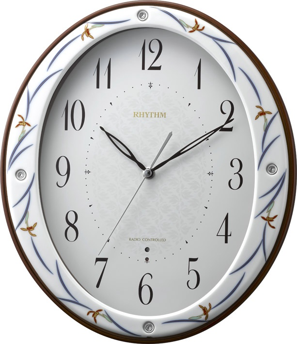 香蘭社・リズム時計共同開発品 掛け時計 ハイクオリティコレクション 染錦春蘭485 リズム時計 8MY485HG11 無料名入れ【_のし】【_メッセ入力】【_名入れ】