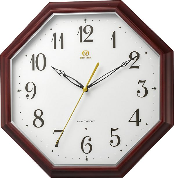 天然木の掛け時計 ハイグレード 8角形 RHG-M010 掛け時計 リズム時計 壁掛け時計 8MY530HG06 名入れ 文字入れ【楽ギフ_のし】【楽ギフ_メッセ入力】【楽ギフ_名入れ】