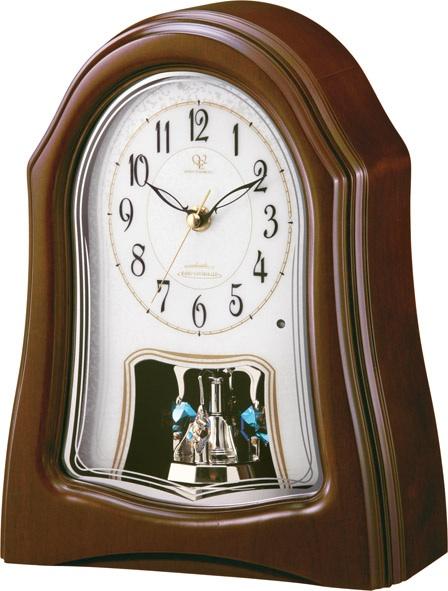 回転飾り付きウッド置き時計 ハイグレード RHG-S57 リズム時計 8RY401HG06 楽ギフ_名入れ ショップ 優先配送 名入れ無料サービス 楽ギフ_のし 楽ギフ_メッセ入力