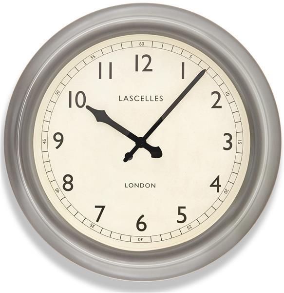 レトロ調でお洒落!ロジャーラッセルRoger Lascelles社製 掛け時計 Large Metal Lascelles Clock with a Pewter Finish ロジャーラッセル時計 LM-LASC-PEWTER