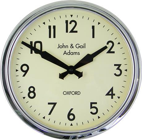 文字入れ品 ロジャーラッセルRoger Lascelles社製 PERSONALISED Smiths Retro Clock 38cm 掛け時計 PD-SM-RETRO-CHROME