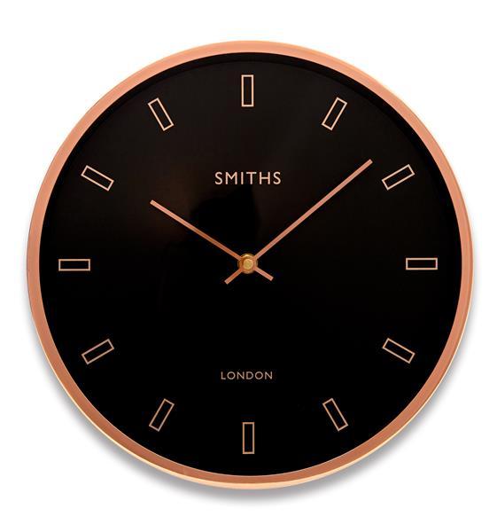 ロジャーラッセルRogerLascelles社製 MODERN ROSE GOLD CASE, SMITHS BLACK DIAL WALL CLOCK - 30cm SM-FIRECREST-RG