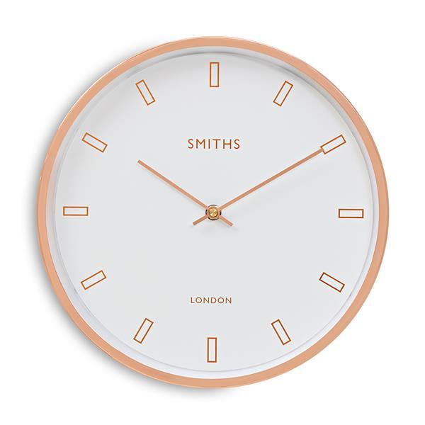ロジャーラッセルRoger Lascelles社製 MODERN ROSE GOLD CASE, SMITHS WHITE DIAL WALL CLOCK - 30cm ロジャーラッセル時計 SM-FIRECREST-WHT