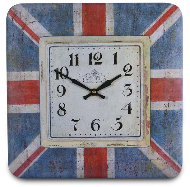 レトロ調でお洒落 ロジャーラッセル掛け時計 Roger Lascelles 掛け時計 SQUARE TIN WALL CLOCK UNION JACK 壁掛け時計 SQ-JACK