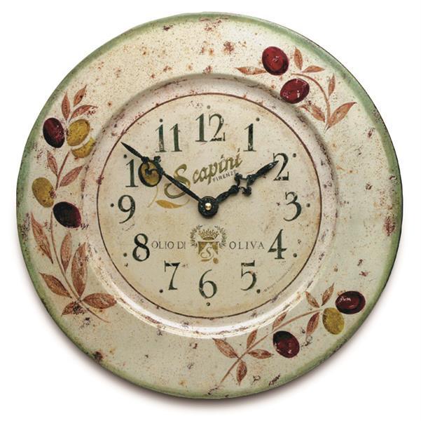 掛け時計 アンティーク調 お洒落 ロジャーラッセル壁掛け時計 RogerLascelles掛け時計 French Tin Wall Clock, Olives Design 壁掛け時計 TIN-OLIVES