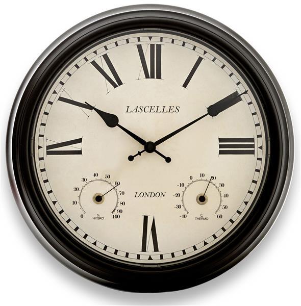 屋内屋外兼用!温湿度計付き掛け時計 ロジャーラッセルRogerLascelles社製 Metal Outdoor Clock 36cm掛け時計 TS-LASC-OD-BRN