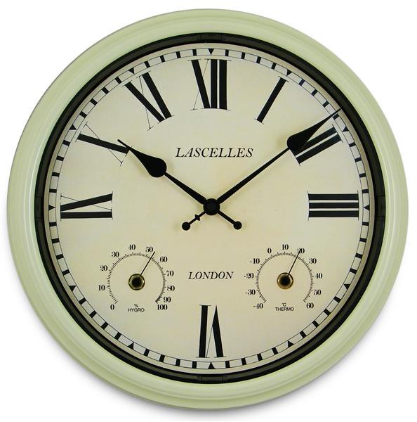 ロジャーラッセル壁掛け時計 屋内屋外兼用!温湿度計付き掛け時計 Roger Lascelles社製 Metal Outdoor Clock 36cm掛け時計 TS-LASC-OD-CRM
