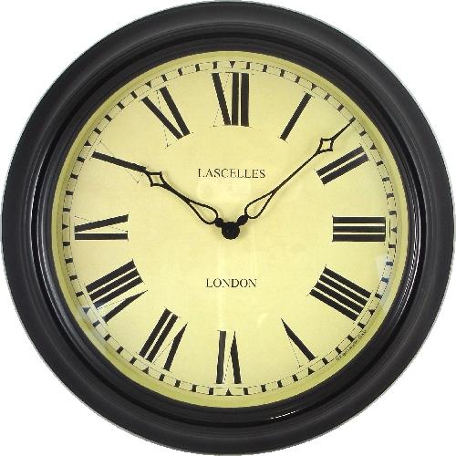レトロ調なステーションクロックです。 ロジャーラッセル掛け時計 RogerLascelles社製 壁掛け時計 TS-STATION-BLK