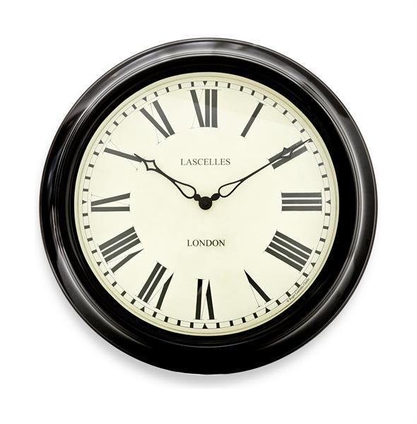 レトロ調なステーションクロックです。 ロジャーラッセル掛け時計 RogerLascelles社製 壁掛け時計 ロジャーラッセル時計 TS-STATION-BLK