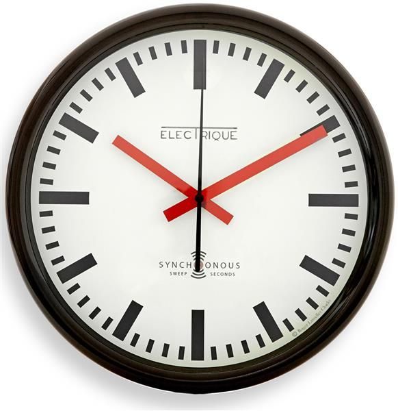 ロジャーラッセルRogerLascelles社製 Black Swiss Inspired Station Clock Wall Clock 30cm掛け時計 TS-SYNC-BLACK