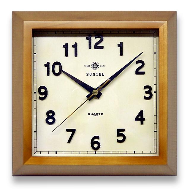 さんてる 天然木 シンプル 電波掛け時計 スクエア DQL696BR サンテル 日本製