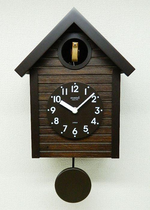 鳩時計 ハト時計 レトロ さんてる 日本製 振り子 はと時計 SQ04AN  アンティークブラウン 国産 手作り