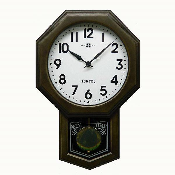 さんてる 8角スタンダード振り子時計 電波振り子ムーブメント ブラック SR05DBR-A サンテル 日本製