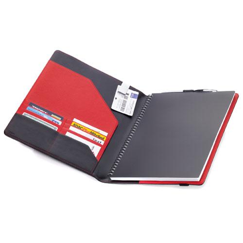 レザーノートカバー、手帳カバーA4 BOK22LE レッド&ブラック TROIKA