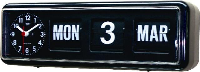 【TWEMCO】 トゥエンコ カレンダー時計  BQ-38ブラック 置き掛け兼用時計