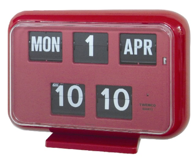 【TWEMCO】 トゥエンコ カレンダー時計  QD-35レッド 置き掛け兼用時計