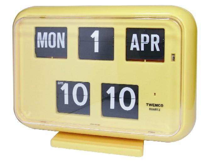 【TWEMCO】 トゥエンコカレンダー時計  QD-35イエロー 置き掛け兼用時計