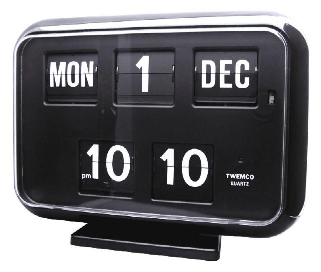 【TWEMCO】 トゥエンコ カレンダー時計  QD-35ブラック 置き掛け兼用時計