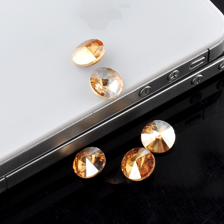 安値 小物の装飾盛りデコに Vカット ラウンド ライトピーチ カラージュエリーストーン 14mm ファンシーストーン ガラスストーン メーカー在庫限り品 メール便対応 2個