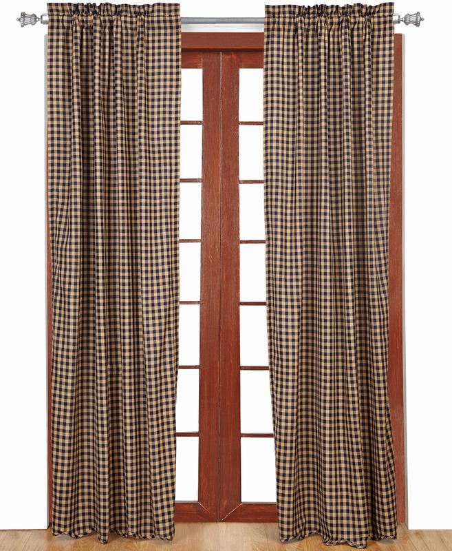 カーテン ネイビーチェック スカロップ(2枚1組)丈213センチ×幅101センチが2枚