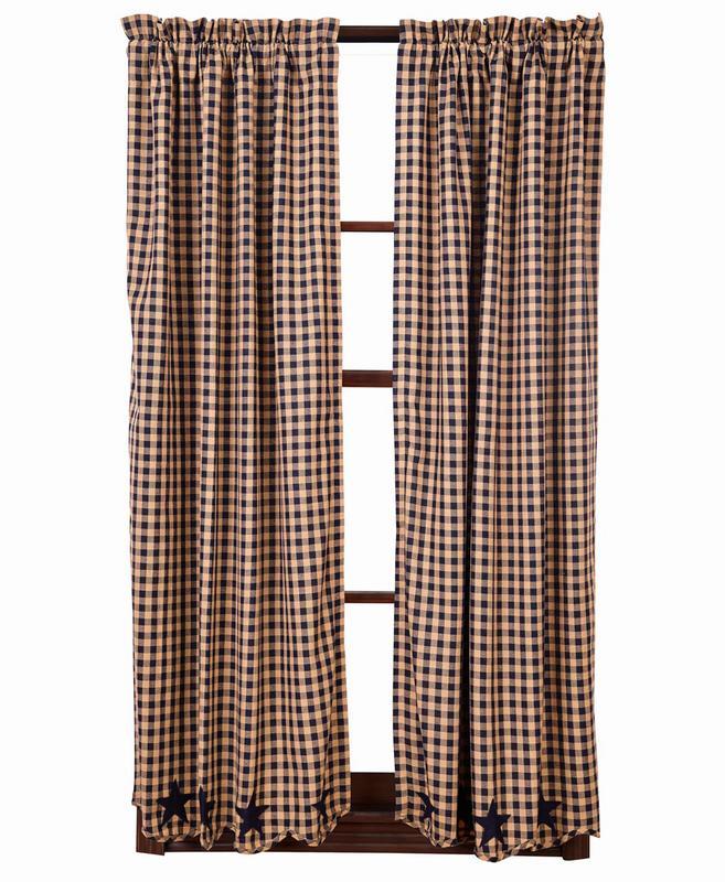 ショートパネルカーテン ネイビースター スカロップ(丈160センチ×幅91センチ 2枚1組)
