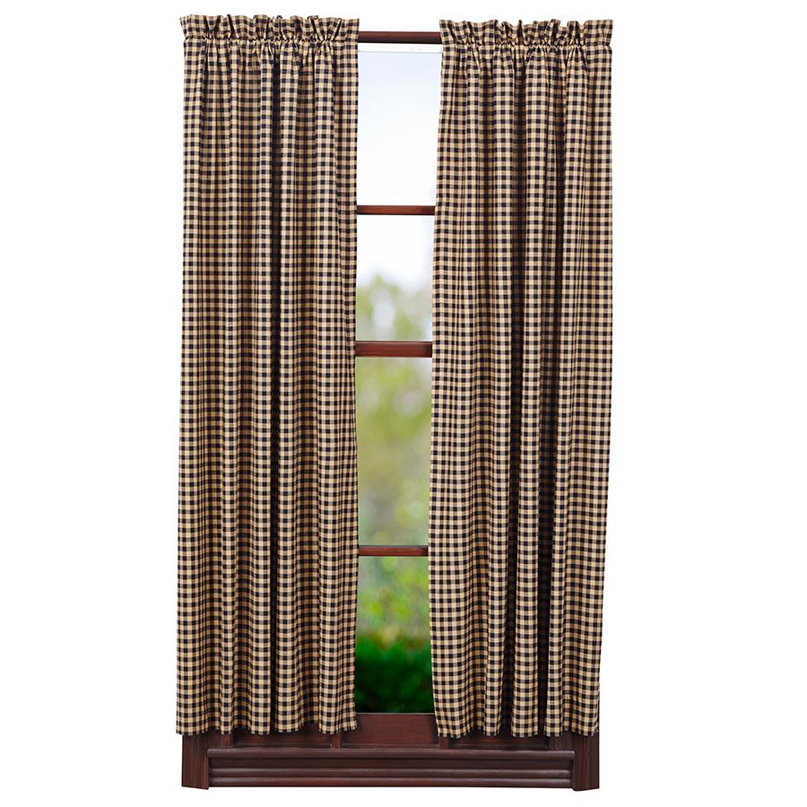 ショートパネルカーテン ブラックチェック(丈160センチ×幅91センチ 2枚1組)