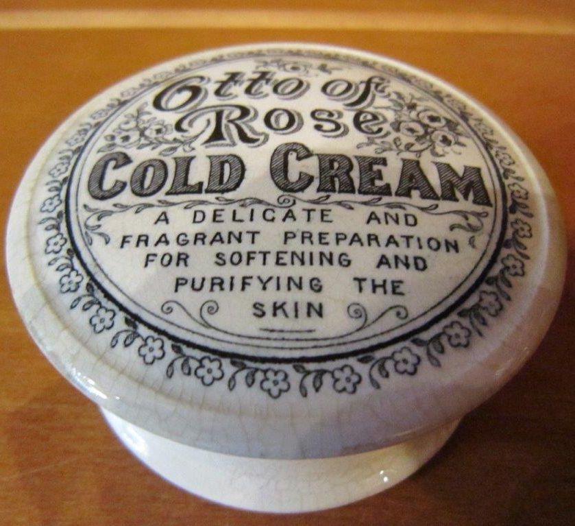 アンティークポットリッド コールドクリームの容器 薔薇のオットー