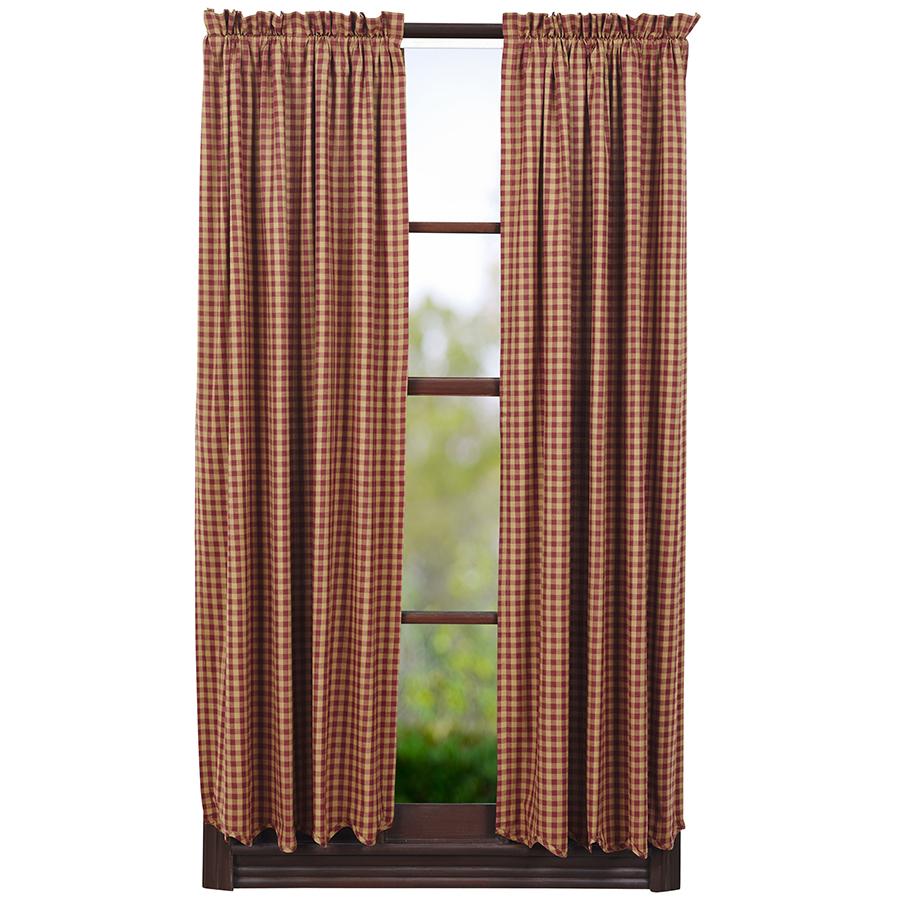 ショートパネルカーテン バーガンディチェック(丈160センチ×幅91センチ 2枚1組)