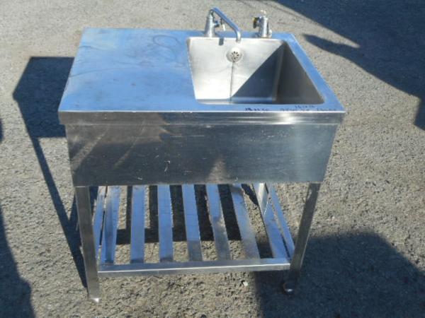業務用 ステンレス 1槽シンク 水切付 W75D60H80cm 槽W36D38 右槽【中古】