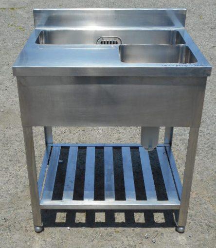 業務用 ステンレス 2槽 シンク W75 D60 H85(+9)cm 厨房 補修有 特注 異形【中古】
