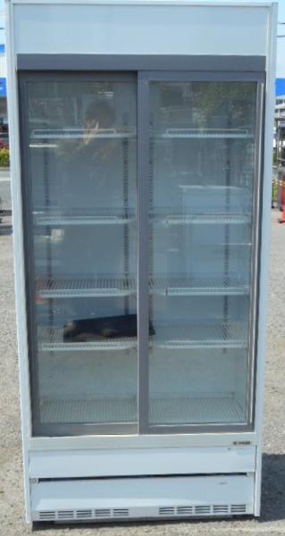 サンデン リーチイン 冷蔵 ショーケース TRM-SS30XB W90D45H190cm 315L 中ビン160本 2001年製 100V 132kg (営業所止め商品)【中古】