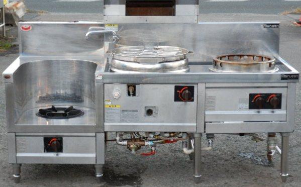 2014年製 マルゼン 3口 中華 レンジ ゆで麺 スープ 炒め MR 圧電 デラックスタイプ W180D75H72(+23+17)cm プロパン 給湯有(西濃営業所止)【中古】