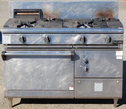2008年製 マルゼン RGR-1264B 4口 コンロ オーブン付 都市ガス W120D60H85(+20)cm 210kg ガスレンジ 圧電点火 (西濃運輸営業所止め商品)【中古】