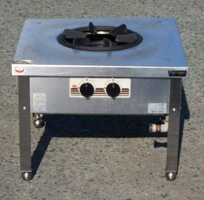 2014年製 マルゼン 1口 スープ レンジ コンロ MLS-066CB W60D60H45cm 圧電点火 ローレンジ【中古】
