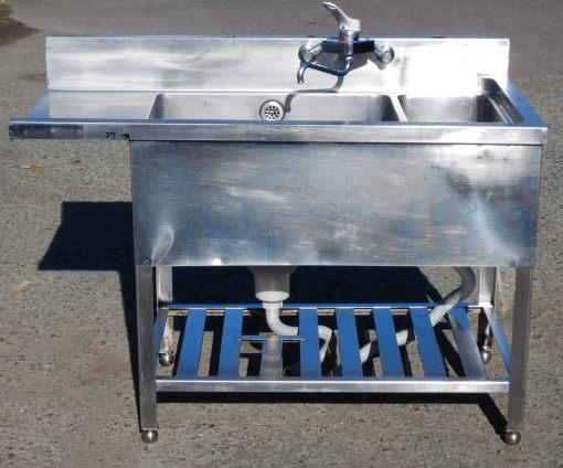 業務用 ステンレス 1槽 ソイルド シンク W120 D60 H80(+10)cm ダスト槽付 食器洗浄機 用 SD82EA3 で使用【中古】