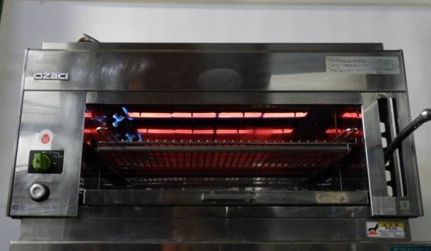 オザキ LPガス サラマンダー 900J1 W90D40H50cm 赤外線 上火式 グリラー 庫内W64D37H20cm 6.7kw プロパン 57kg 自動点火 2005年製 安全装置【中古】
