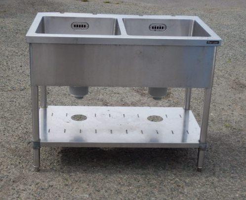 マルゼン 業務用 ステンレス 2槽 シンク W100 D60 H80cm BS2-106N 排水トラップ180mm【中古】
