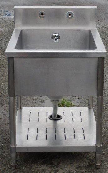 タニコー 業務用 ステンレス 1槽 シンク W60 D75 H80(+15)cm 厨房【中古】