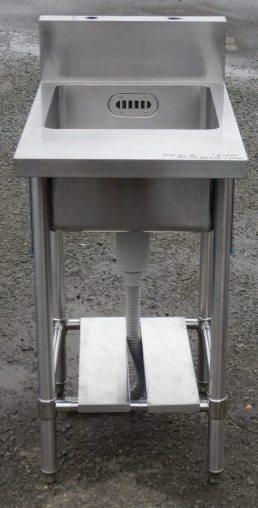 業務用 ステンレス 1槽 シンク W45 D54(+18) H85(+15)cm 厨房 内寸W37D41深24cm【中古】